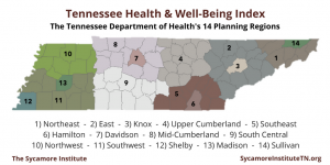 Tennessee Department of Health's 14 Planning Regions