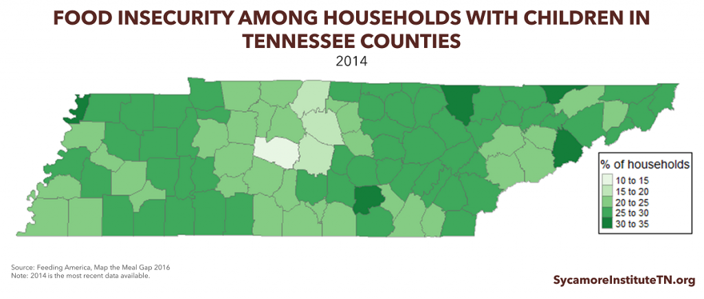 Food Insecurity Among Households with Children in Tennessee Counties