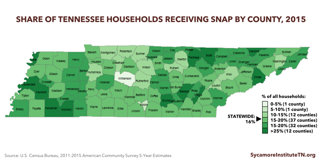 Share of Tennessee Households Receiving SNAP by County (2015)