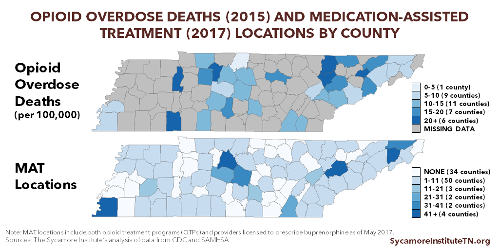 Opioid Overdose Deaths (2015) And Medication-Assisted Treatment Locations (2017) By County