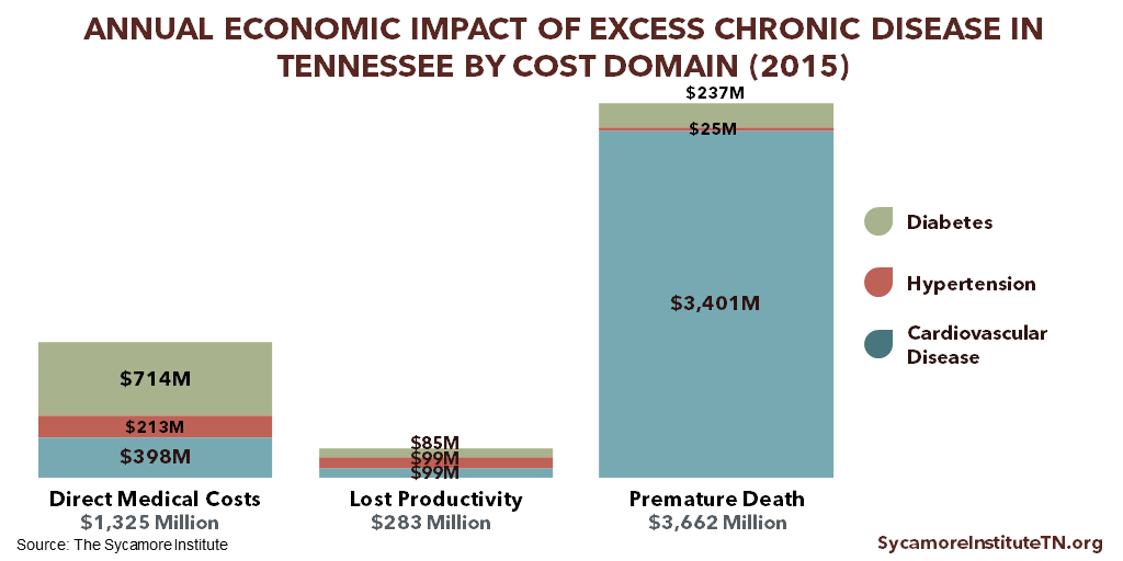 Annual Economic Impact of Excess Chronic Disease in Tennessee by Cost Domain (2015)