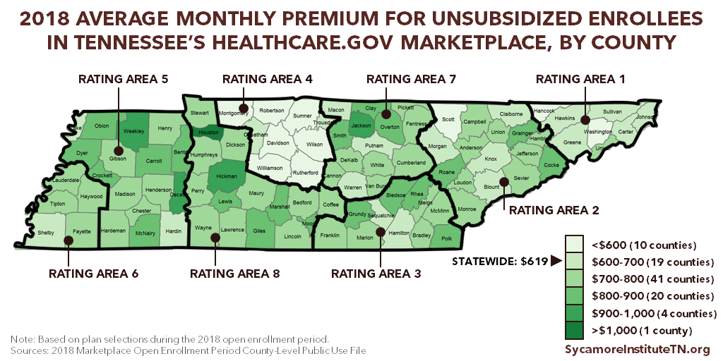 2018 Average Monthly Premium for Unsubsidized Enrollees in Tennessee's Healthcare.gov Marketplace, by County (Map)