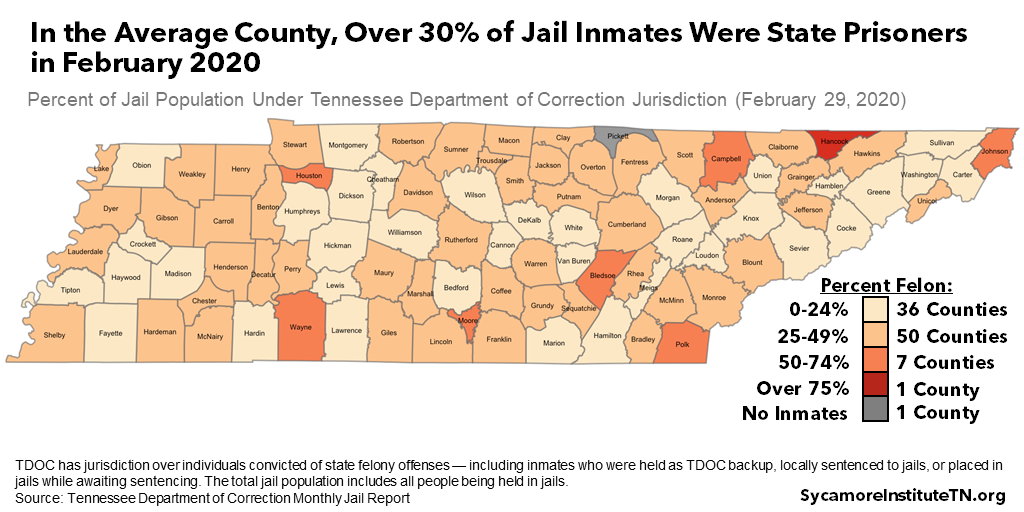 In the Average County, Over 30 Percent of Jail Inmates Were State Prisoners in February 2020