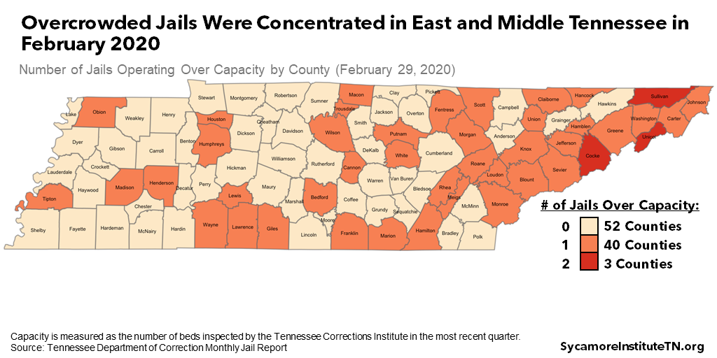 Overcrowded Jails Were Concentrated in East and Middle Tennessee in February 2020
