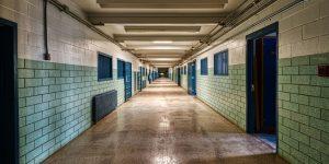 Empty prison hallway