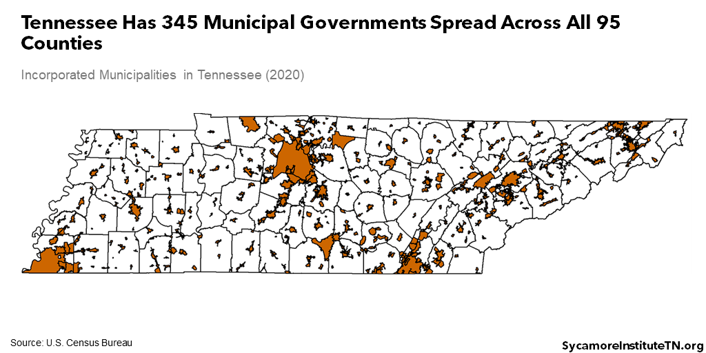 Tennessee Has 345 Municipal Governments Spread Across All 95 Counties