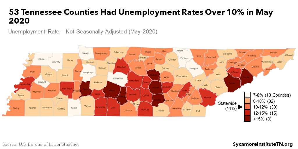 53 Tennessee Counties Had Unemployment Rates Over 10% in May 2020