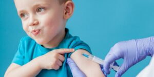 Child getting a shot in arm