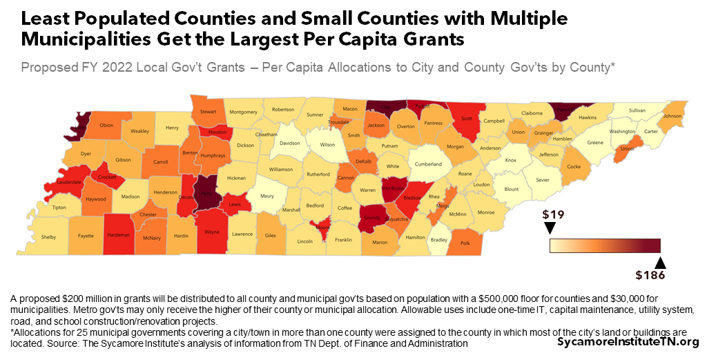 Least Populated Counties and Small Counties with Multiple Municipalities Get the Largest Per Capita Grants - Map