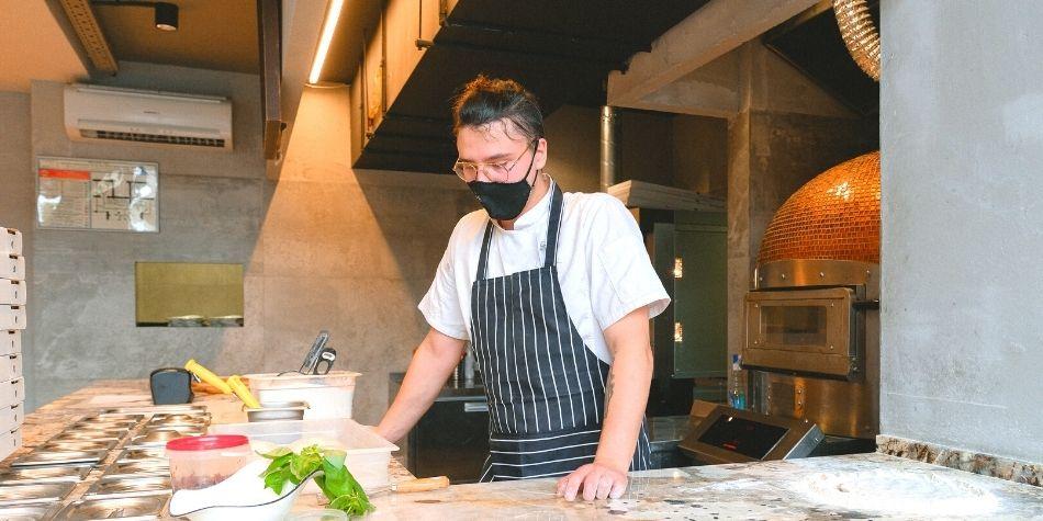 Man in restaurant kitchen